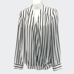 INC Black and White Blouse Long Sleeve Size 12p.